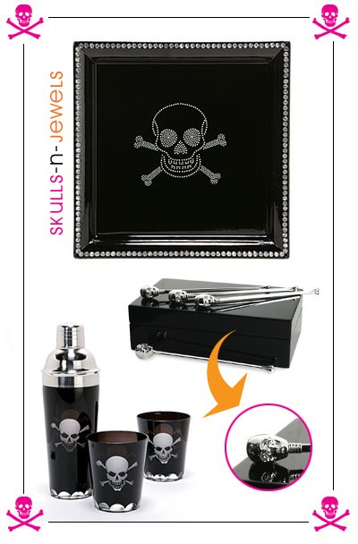 Skull Tray and Skull Martini Set=