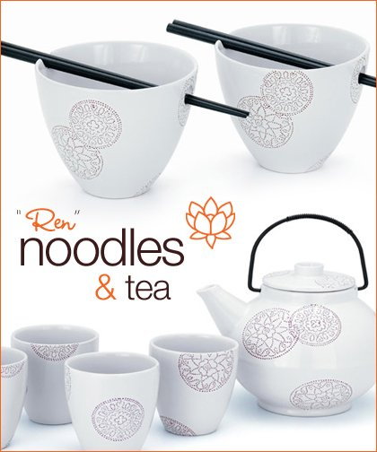 asian tea set and noodle bowls