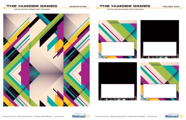 Hunger Games Capitol Couture Printables - Pattern and Labels