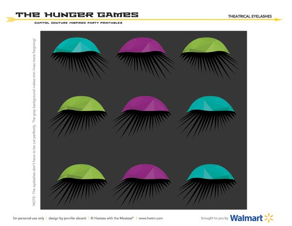 Hunger Games Capitol Couture Printables - Theatrical Eyelash Cupcake Toppers