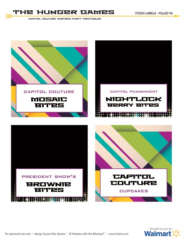 Hunger Games Capitol Couture Printables - Buffet Labels
