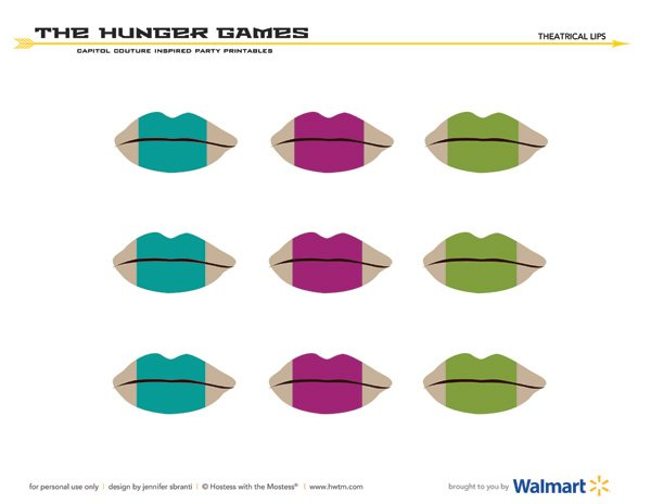 Hunger Games Capitol Couture Printables - Theatrical Lips Cupcake Toppers