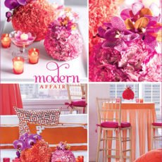 modern fuschia and orange wedding reception ideas