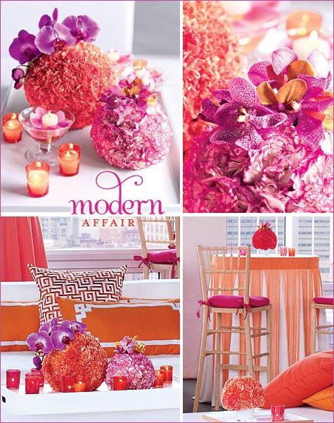 modern fuschia and orange wedding reception ideas