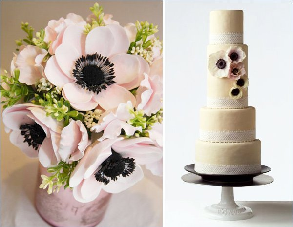 anemone wedding cakes centerpieces decorations