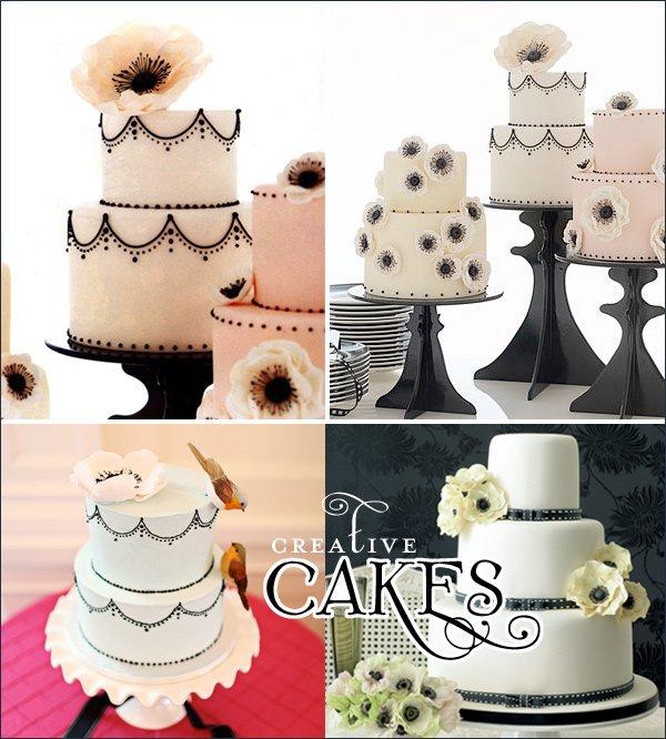modern anemone wedding cakes