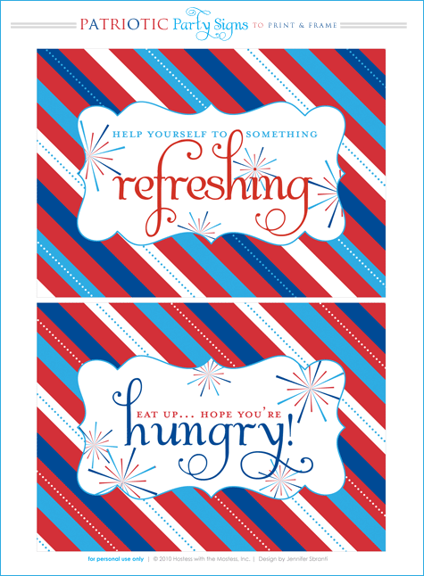 4th of July patriotic party printables