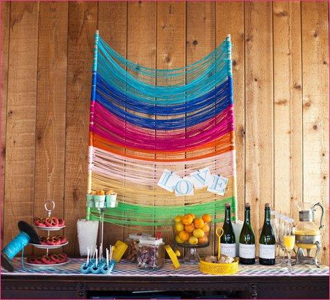 Yarn backdrop for photos