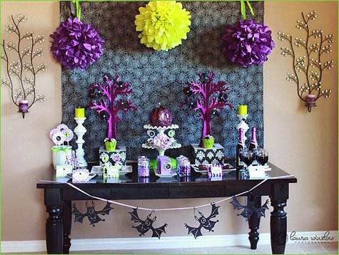 glam halloween party ideas purple green