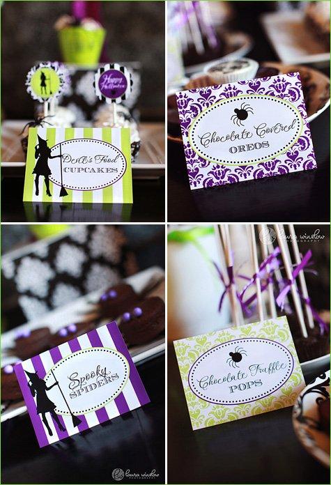 glam halloween party ideas purple green