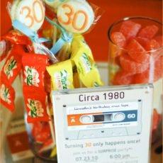 mixed tape retro 30th birthday party ideas
