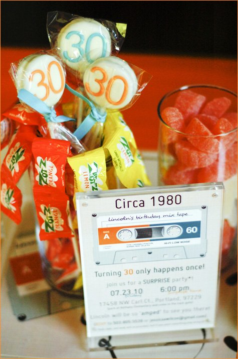 mixed tape retro 30th birthday party ideas
