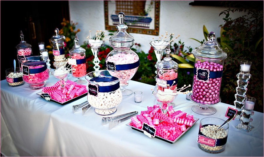 Sweet Sparkly Wedding Candy Buffet Pink and Navy Hostess