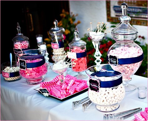 pink white navy candy buffet ideas