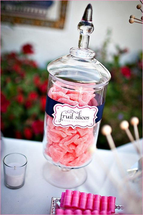pink white navy candy buffet ideas