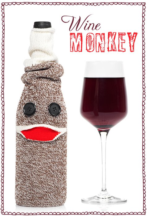 sock monkey wine bottle cover