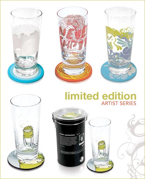 limited edition artist series glass and coaster sets