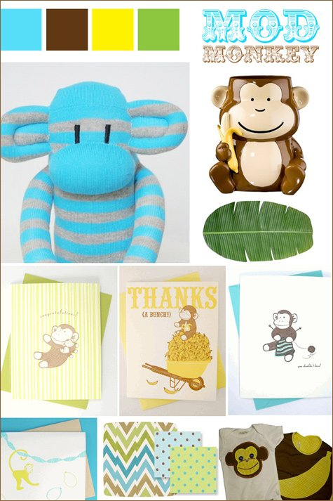 mod monkey baby shower