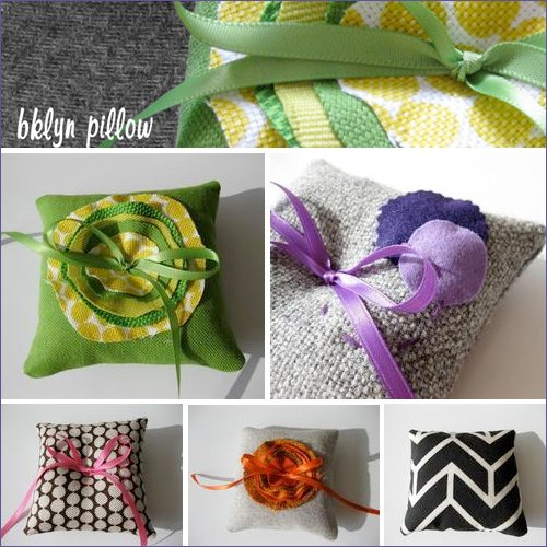 modern handmade ring pillows