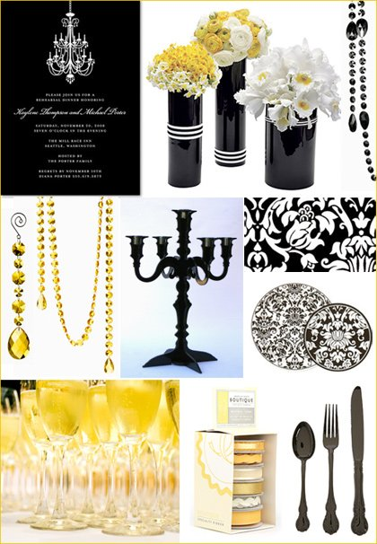 black and yellow party wedding