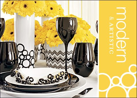 modern black and yellow wedding reception