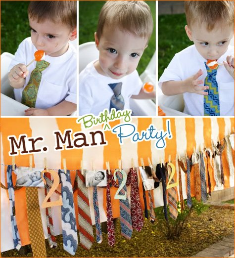 Mr. Man Birthday Party - boy and adult