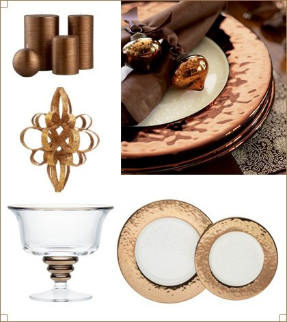 metallic copper dishes & decor