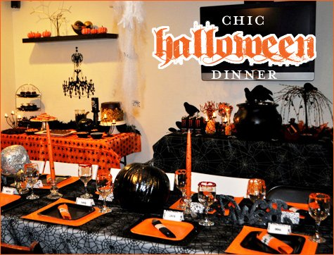 Halloween Dinner Party Ideas.Real Parties Chic Halloween Dinner Hostess With The Mostess