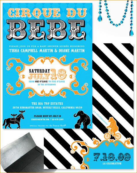 French Circus Baby Shower Invitations