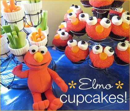 Elmo Party Cupcakes