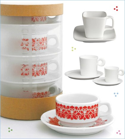 notNeutral red ribbon espresso set