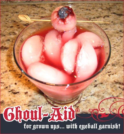 halloween cocktail - ghoul-aid with eyeball garnish