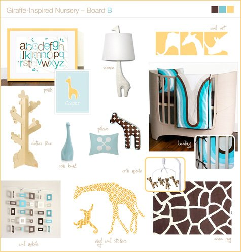 giraffe nursery theme - inspiration board