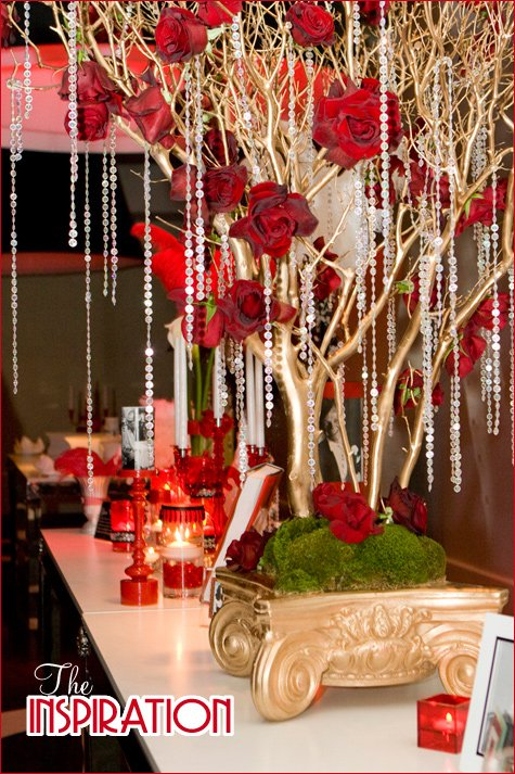 gold manzanita branch centerpieces