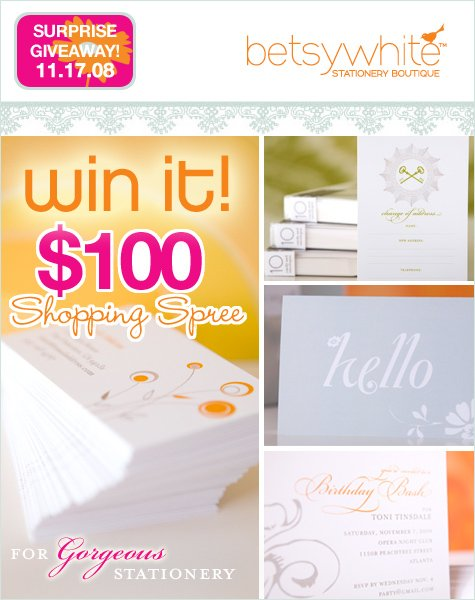 giveaway - betsy white personalized stationery