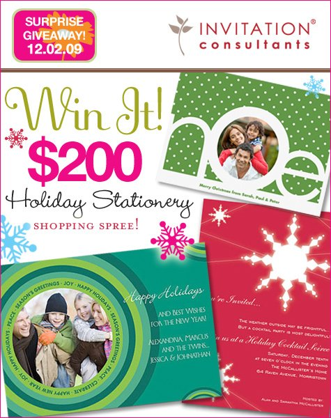 invitation consultants holiday card giveaway
