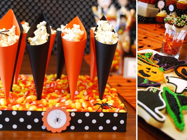 Halloween dessert table treat cones diy hostess with Halloween party decorations ideas homemade