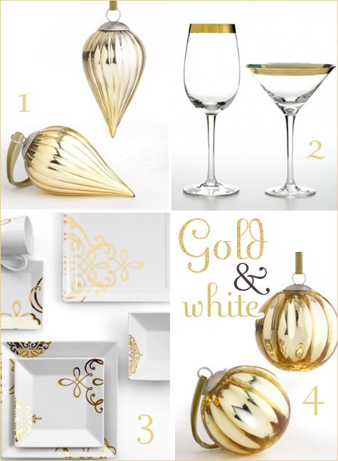 gold and white holiday decorating ideas