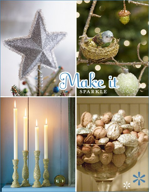 glitter holiday decorations