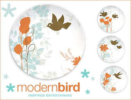 modern bird plates aprons entertaining