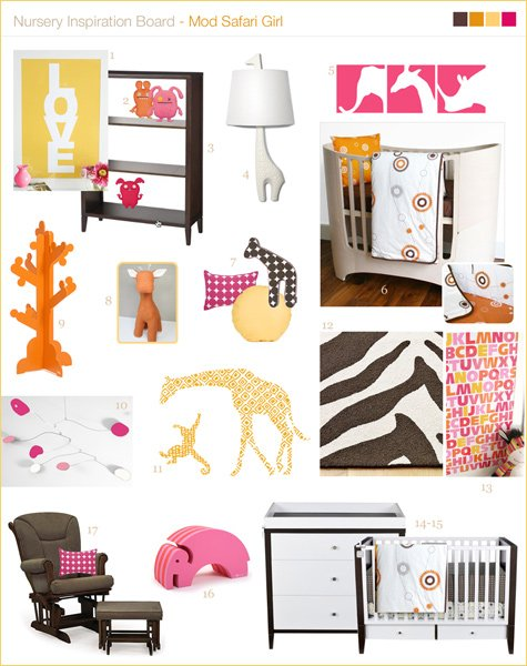 modern nursery inspiration board giraffe