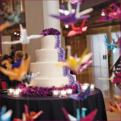 modern art wedding origami paper cranes