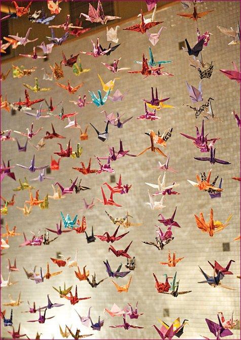 modern art wedding origami paper cranes