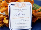 modern orange and navy baby shower