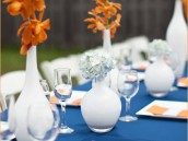 modern baby bridal shower orange and navy