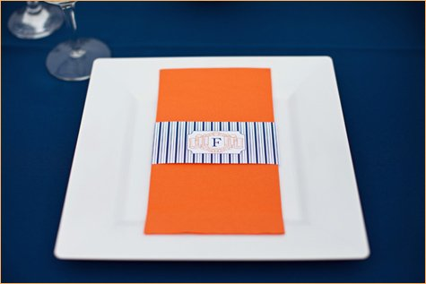 modern orange and navy baby or bridal shower