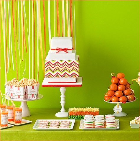 Modern Chevron dessert table - Amy Atlas