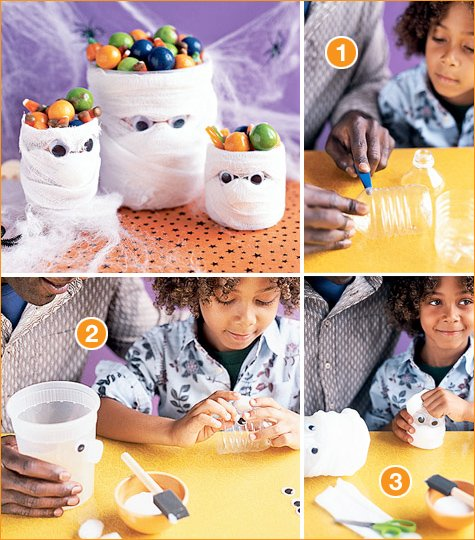 halloween kids craft - mummy candy holder