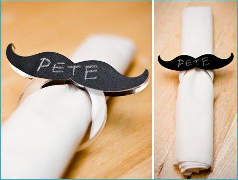 chalkboard mustache napkin rings