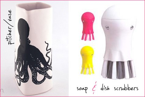 octopus vase and dish scrubbers